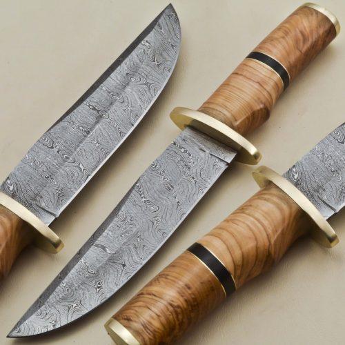Hunting-Knife-Brass-Bolster-Wood-Handle