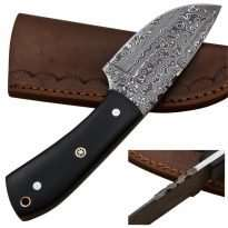 Custom-Rain-Drop-Damascus-Steel-Straight-Back-Hunting-Knife-Micarta-Handle