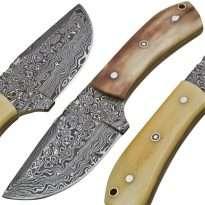 Custom-Rain-Drop-Damascus-Steel-Clip-Point-Hunting-Knife-Camel-Bone-Handle