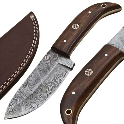 Custom-Twist-Damascus-Steel-Drop-Point-Hunting-Knife-Wood-Handle
