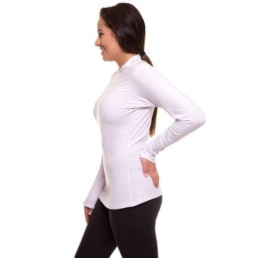 Womens-Fleece-Thermal-Mock-Neck-Full-Sleeves-Compression-Shirt