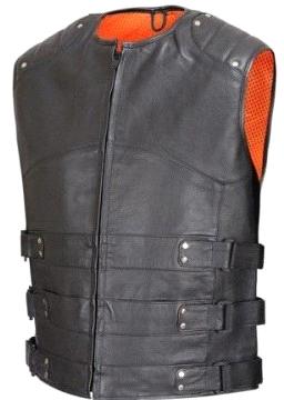 Crew-Collar-Leather-Biker-Vest